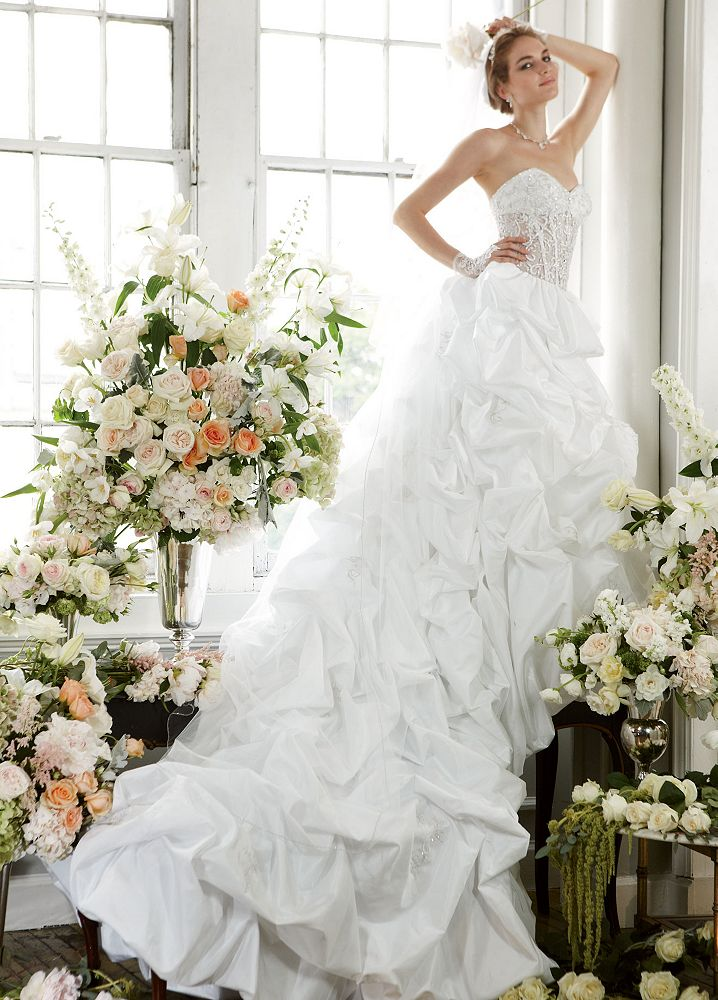 David 39 s bridal wedding dress pick up with illusion bodice for Want to sell my wedding dress
