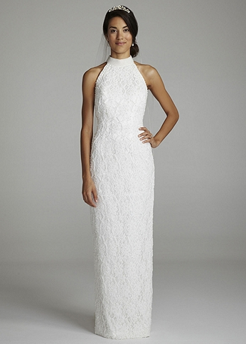 Halter Lace Wedding Dress with Sweep Train OP003