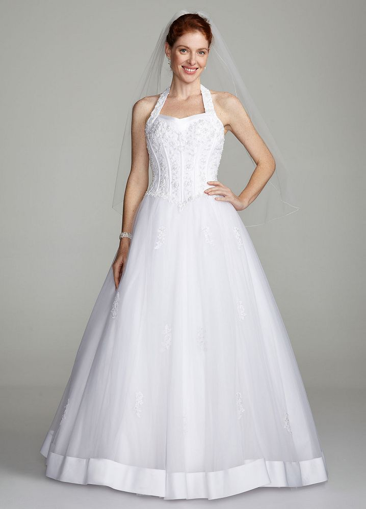 David 39 s bridal halter sweetheart tulle ball gown wedding for Sweetheart halter wedding dress
