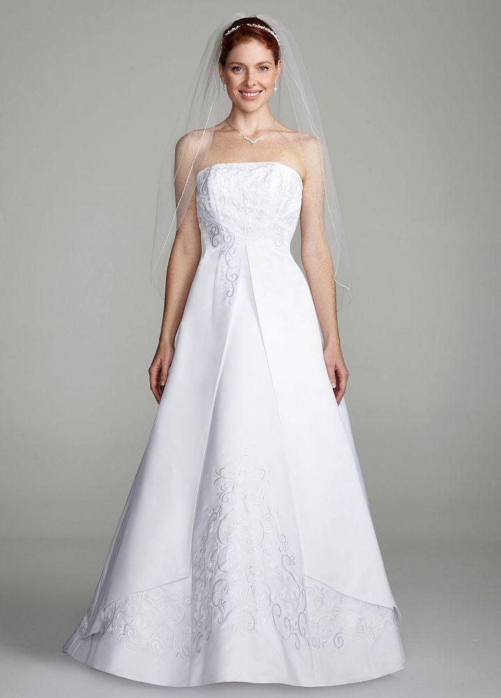 David 39 s bridal strapless a line split front wedding dress David s bridal strapless wedding dress