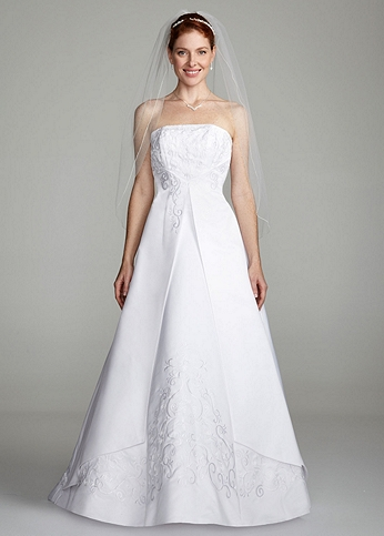 Strapless A-line Split Front Gown with Beading OP5268