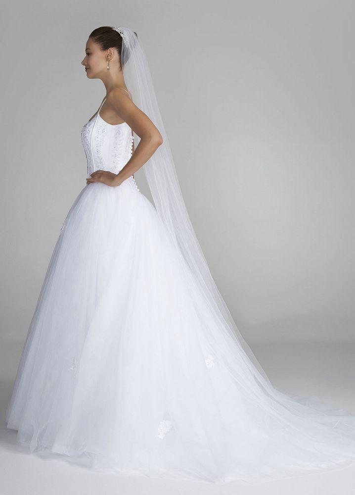 David 39 s bridal spaghetti strap tulle ball gown wedding for Spaghetti strap ball gown wedding dress