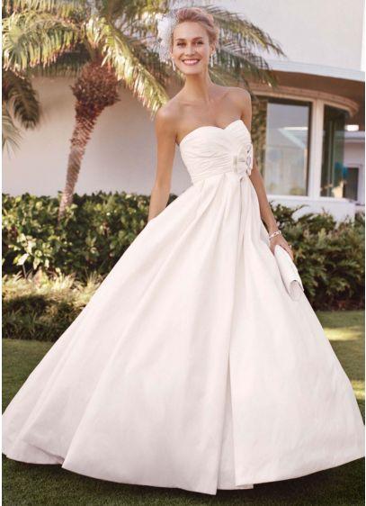 Strapless shantung taffeta sweetheart ball gown davids bridal long ballgown wedding dress junglespirit Images