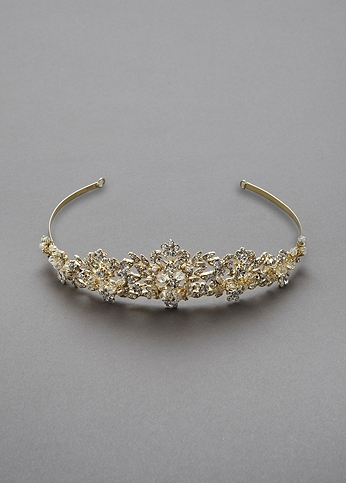 Heavily Beaded Crystal Tiara T8136