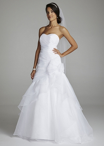 Organza A Line Gown with Floral Side Detail V3388