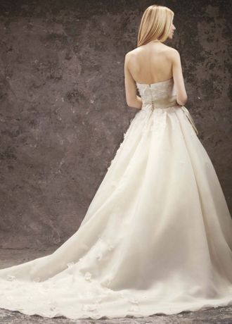 Basket Weave Organza Gown With Floral Detail David S Bridal