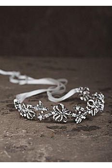 Garland Headband in Antique Crystal with Ribbon VW370088