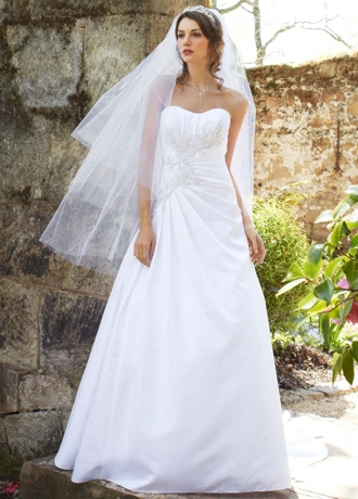 Satin Side Draped Gown with Beaded Lace Appliques WG3464