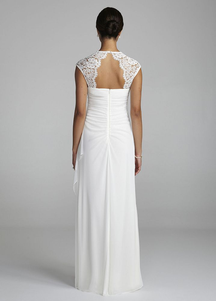 David 39 s bridal lace cap sleeve long matte mesh wedding for David s bridal lace wedding dress