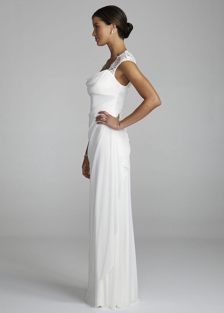 David 39 s bridal lace cap sleeve long matte mesh wedding for Want to sell my wedding dress