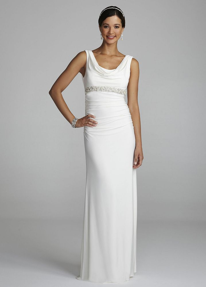 David 39 s bridal cowl neck jersey wedding dress with beaded for Wedding dresses new jersey