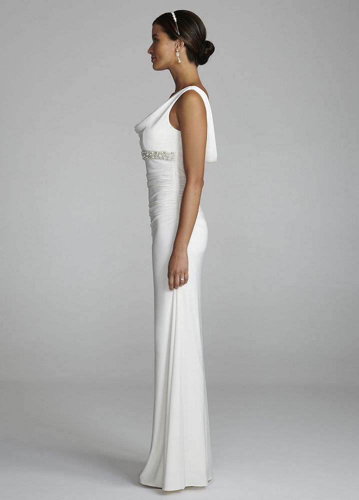 David 39 s bridal cowl neck jersey wedding dress with beaded for Want to sell my wedding dress