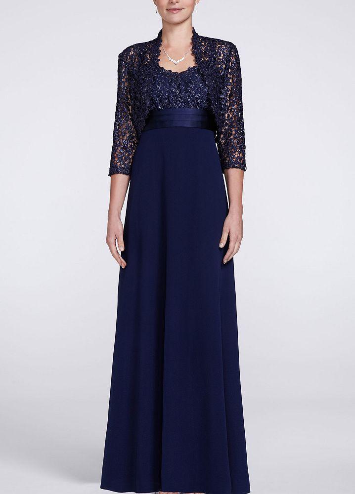 David 39 s bridal long sleeve metallic lace jacket dress ebay for Blazer with dress for wedding