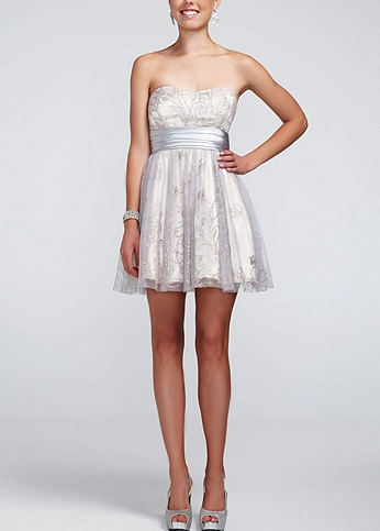 Short Glitter Mesh Dress with Full Skirt 464383