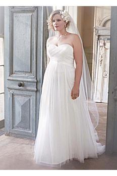 Dot Tulle Empire Waist Soft Wedding Gown AI13012555