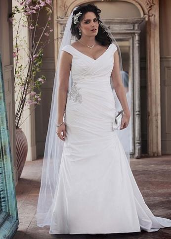 Off The Shoulder Taffeta Plus Size Wedding Dress 9WG3473