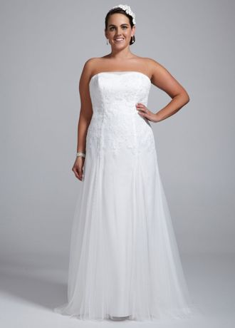 Soft Tulle Plus Size Wedding Dress with Lace 9WG3492