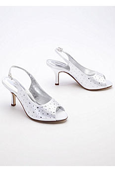 Dyeable Slingback Peep Toe with Crystals EMMADYEABLE
