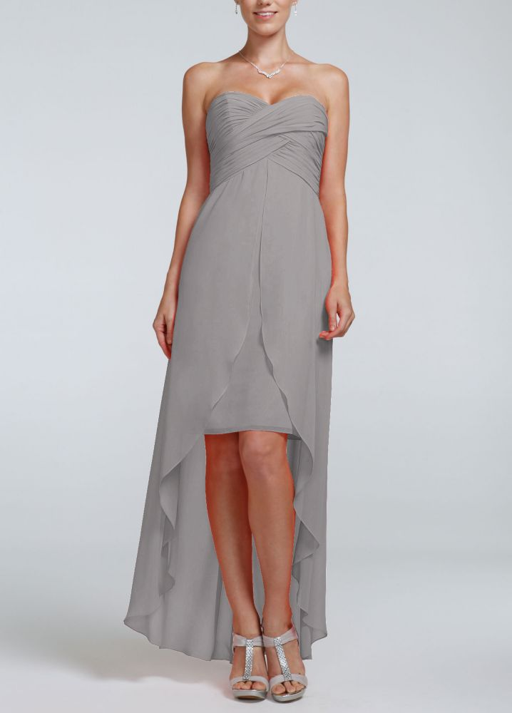 Strapless high low dress with split front detail ebay for High low wedding dress davids bridal