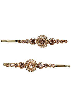 Gold Bobby Pins with Rhinestones Set of Two HP3486