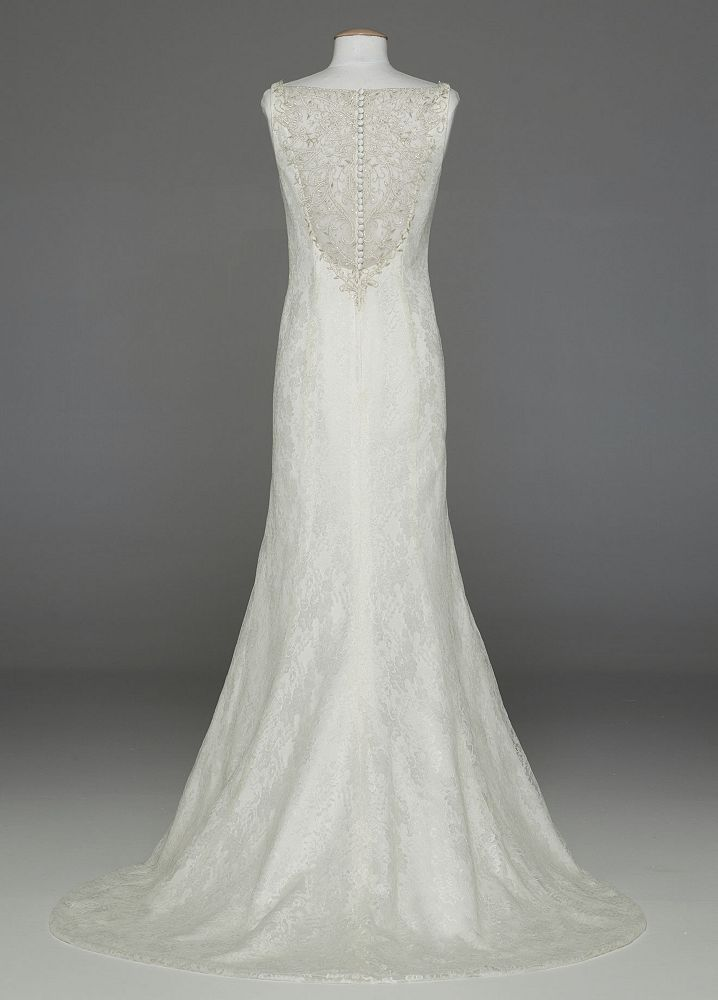 David 39 s bridal all over lace tank wedding dress with for David s bridal lace wedding dress