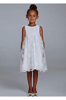 Tea Length Flower Girl Ballgown with Lace OP203