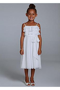 Crinkle Chiffon Tea Length Flower Girl Gown OP205