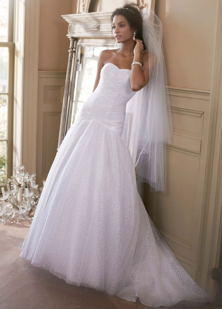 David 39 s bridal sweetheart sequin tulle ball gown wedding for Sweetheart corset wedding dress