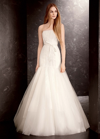 Strapless Satin and Organza Fit and Flare Gown VW351177