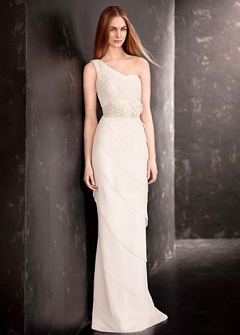 White by Vera Wang One Shoulder Wedding Dress VW351190