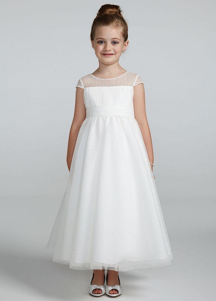 David 39 s bridal illusion cap sleeve dot tulle dress ebay for David s bridal tulle wedding dress
