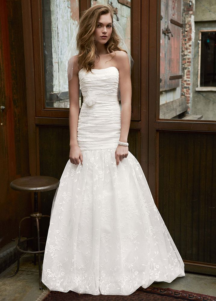 David 39 s bridal lace fit and flare wedding dress with for All lace fit and flare wedding dress