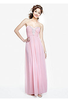 Strapless Chiffon Dress with Applique Detail 0577MX4B