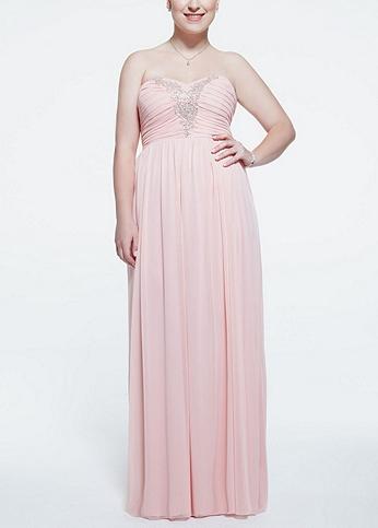 Strapless Chiffon Dress with Applique Detail 0577MX4BW