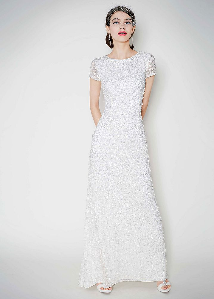 db studio cap sleeve long beaded sequin wedding dress On long sleeve sequin wedding dress