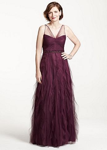 Sleeveless Tulle Long Dress with Cascading Ruffles 091897110