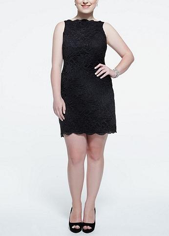 Sleeveless Glitter Lace Dress with Ribbon Tie Back 11826W
