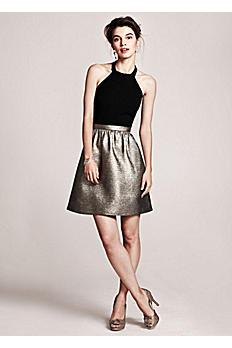 Metallic Jacquard Halter Party Dress 141704390