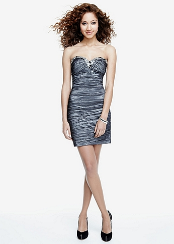 Strapless Sweetheart Taffeta Dress with Beading 154A