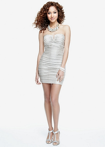 Strapless Metallic Foil Ruched Dress 201C61090
