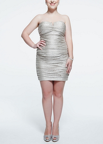 Strapless Metallic Foil Ruched Dress 201C61090W