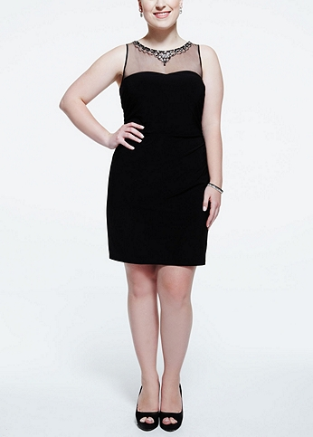 Sleevless Jersey Dress with Beaded Illusion Neck 211S41550W