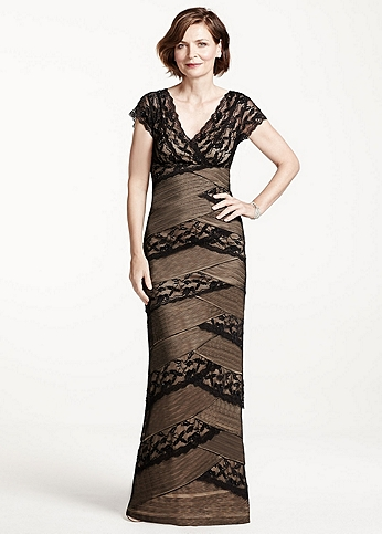 Long Beaded Stretch Lace Dress with Cap Sleeves 260212I