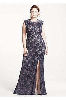 Long Lace Cap Sleeve Dress with Keyhole Back 3329MT4W