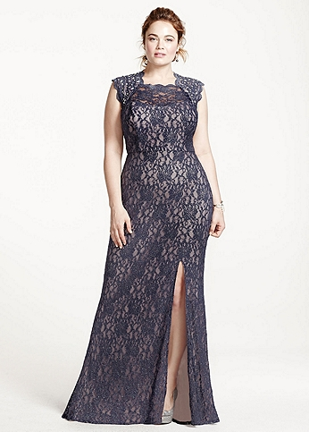 Long Lace Cap Sleeve Dress with Keyhole Back 3329MT4W