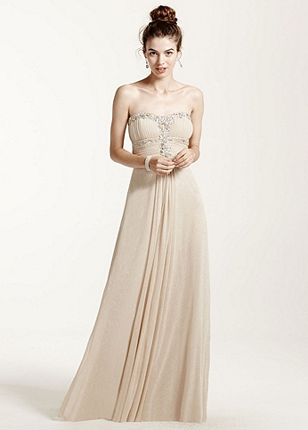 Strapless Glitter Jersey Dress with Shirred Bodice 55972D