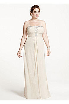 Strapless Glitter Jersey Dress with Shirred Bodice 55972W