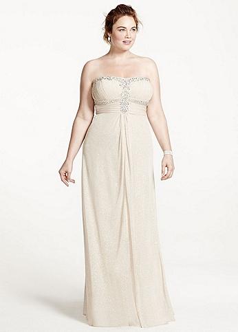 Strapless Glitter Jersey Dress with Shirred Bodice 55972W