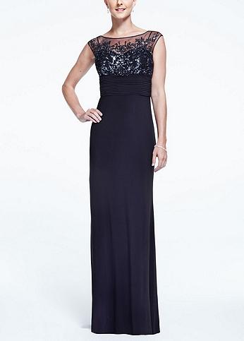 Sleeveless Long Jersey Dress with Beaded Bodice 56315D