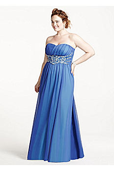Long Strapless Mesh Dress with Beaded Waist 8420CM5W